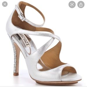 Silver Badgley Mischka Satin Heels